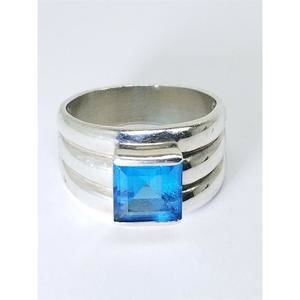 Women's Sterling Silver 925 Ring with Blue Stone